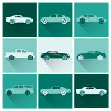 Flat cars icons Stock Images