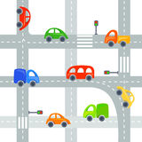 Flat cars and roads background, seamless Royalty Free Stock Photography
