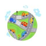 Flat cars, traffic on the Earth. cartoon symbol Stock Photography