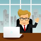 Flat Cartoon business character Man with PC laptop Royalty Free Stock Photo