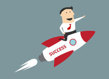 Flat cartoon businessman flying on rocket to Royalty Free Stock Images