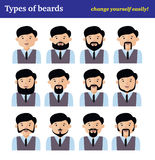 The flat cartoon character set, types of beards Stock Photography
