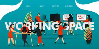Flat cartoon character. vector illustration for technology, startup, creative industry. employee work at WORKING SPACE. people dis stock illustration