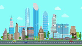 Flat cartoon city day looped animated. Business center with road highway avenue animated transport street traffic.