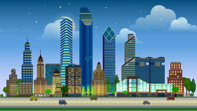 Flat cartoon city day and night, sunset and sunrise animation. stock footage