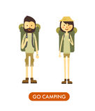 Flat cartoon couple with hiking equipment isolated Stock Images