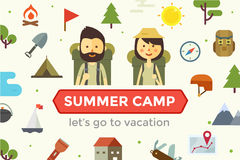Flat cartoon couple with hiking equipment isolated. On white background. Set of camping icons. Modern minimalistic flat vector style Royalty Free Stock Photos