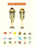Flat cartoon couple with hiking equipment isolated vector illustration