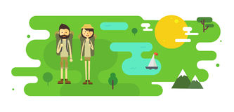 Flat cartoon couple with hiking equipment. In a landscape illustration. Modern minimalistic flat vector style Stock Photography