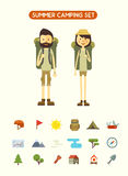 Flat cartoon couple with hiking equipment  Stock Images