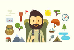 Flat cartoon couple with hiking equipment  Royalty Free Stock Photography