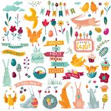 Flat cartoon easter set. Banners, ribbons, eggs, rabbits vector illustration