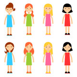 Flat Cartoon Girl Characters Collection. Cute cartoon girls set in flat style. Isolated cartoon girls set with different hairstyles and dresses. Vector smiling Stock Photo