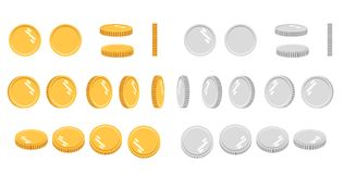 Flat cartoon gold and silver coins, set of icons at different angles for animation. Modern vector illustration.  Royalty Free Stock Images