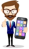 Flat cartoon hipster character - businessman with Royalty Free Stock Image