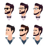 Flat cartoon hipster character set, vector Stock Photo