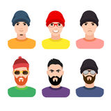 Flat cartoon hipster character set, vector Royalty Free Stock Images