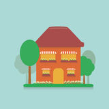 Flat cartoon house in the suburbs with a small plot planted with flowers, daisies and planted trees Stock Photos