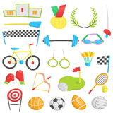 Flat cartoon icons for summer sports, competition event. stock illustration