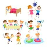Flat cartoon kids spending vacation in summer camp. Kids, boys and girl spending vacation in summer camp - eating, sleeping, playing, swimming, dancing, singing Stock Photos