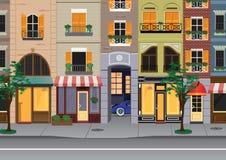Flat cartoon multicolor colorful historic buildings city town Paris, France. Vector illustration Royalty Free Stock Photo