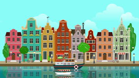 Flat cartoon multicolored colorful historic buildings city town suburb Amsterdam Holland looped animated background. stock video