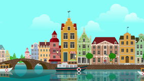 Flat cartoon multicolored colorful historic buildings city town suburb Amsterdam Holland panoramic looped animated background.