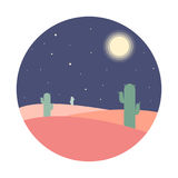 Flat cartoon night desert landscape with cactus silhouette in circle. Background vector illustration Stock Photos