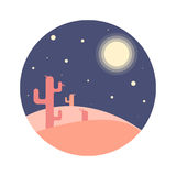 Flat cartoon night desert landscape with cactus silhouette in circle. Background vector illustration Royalty Free Stock Photography