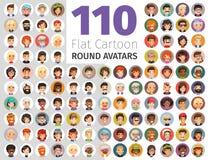 Flat Cartoon Round Avatars Big Collection Stock Image