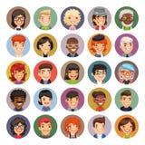Flat Cartoon Round Avatars on Color Royalty Free Stock Image