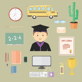 Flat cartoon School Set with objects for study Royalty Free Stock Photography