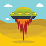 Flat cartoon space ufo object in the color background Stock Image