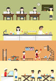 Flat cartoon student in school building interior and layout for Royalty Free Stock Image