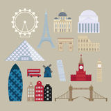 Flat cartoon style historic sight european attractions vector illustration. Royalty Free Stock Image