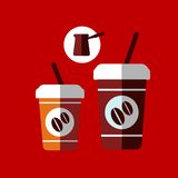Flat cartoon takeaway coffee cups Royalty Free Stock Photography