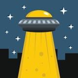 Flat cartoon vector illustration with ufo abduction on dark sky Royalty Free Stock Image