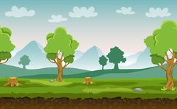 Flat cartoon vector seamless landscape with trees, hills and mountains in the background for your game royalty free illustration