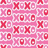 Flat Cartoonish Valentine`s Day Typography vector seamless pattern. Patch Hearts and Words. Love. XOXO stock illustration