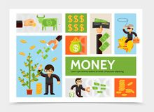 Flat Cash And Currency Infographic Template. With money tree coins businessman dollar cow wallet financial magnet cowboy on piggy bank vector illustration Stock Images