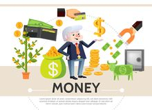 Flat Cash Icons Composition. With money tree payment card coins safe dollar cow wallet financial magnet businessman isolated vector illustration Royalty Free Stock Images
