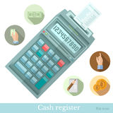 Flat cash register with circle icons Royalty Free Stock Photos