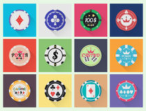 Flat casino chips set Stock Photography