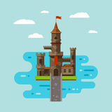 Flat castle art. Abstract medieval kids background stock illustration