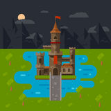 Flat castle art. Abstract medieval kids background royalty free illustration