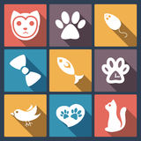 Flat cat icons set, pet application icons in flat design for web Royalty Free Stock Photo