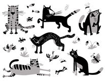 Flat cats set. Vector illustration in children's minimalistic st Royalty Free Stock Image