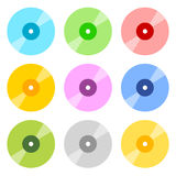 Flat CD / DVD icons in 9 color Royalty Free Stock Photos