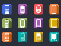Flat cell phone long shadow icons Royalty Free Stock Images