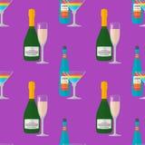 Flat champagne liquor bottles glasses seamless pattern Stock Photo